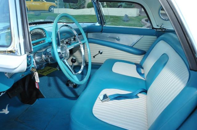 1956 thunderbird baby bird white w turquoise blue interior removable hard top. Black Bedroom Furniture Sets. Home Design Ideas