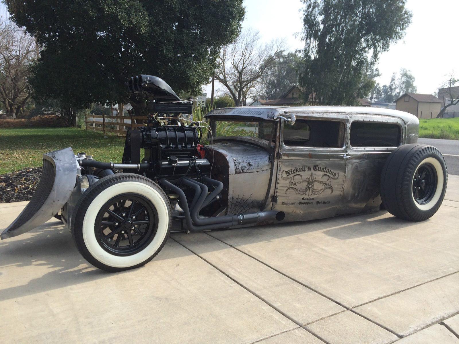 1929 ford tudor sedan-steel-chopped-new frame-air ride-350 mtr-rat ...