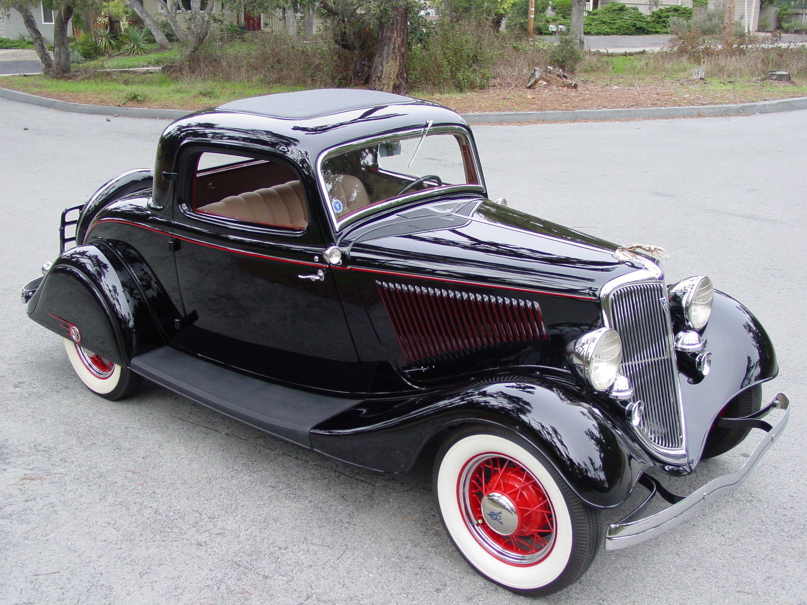 1934 ford deluxe three window coupe with matching trailer for sale in monterey california. Black Bedroom Furniture Sets. Home Design Ideas