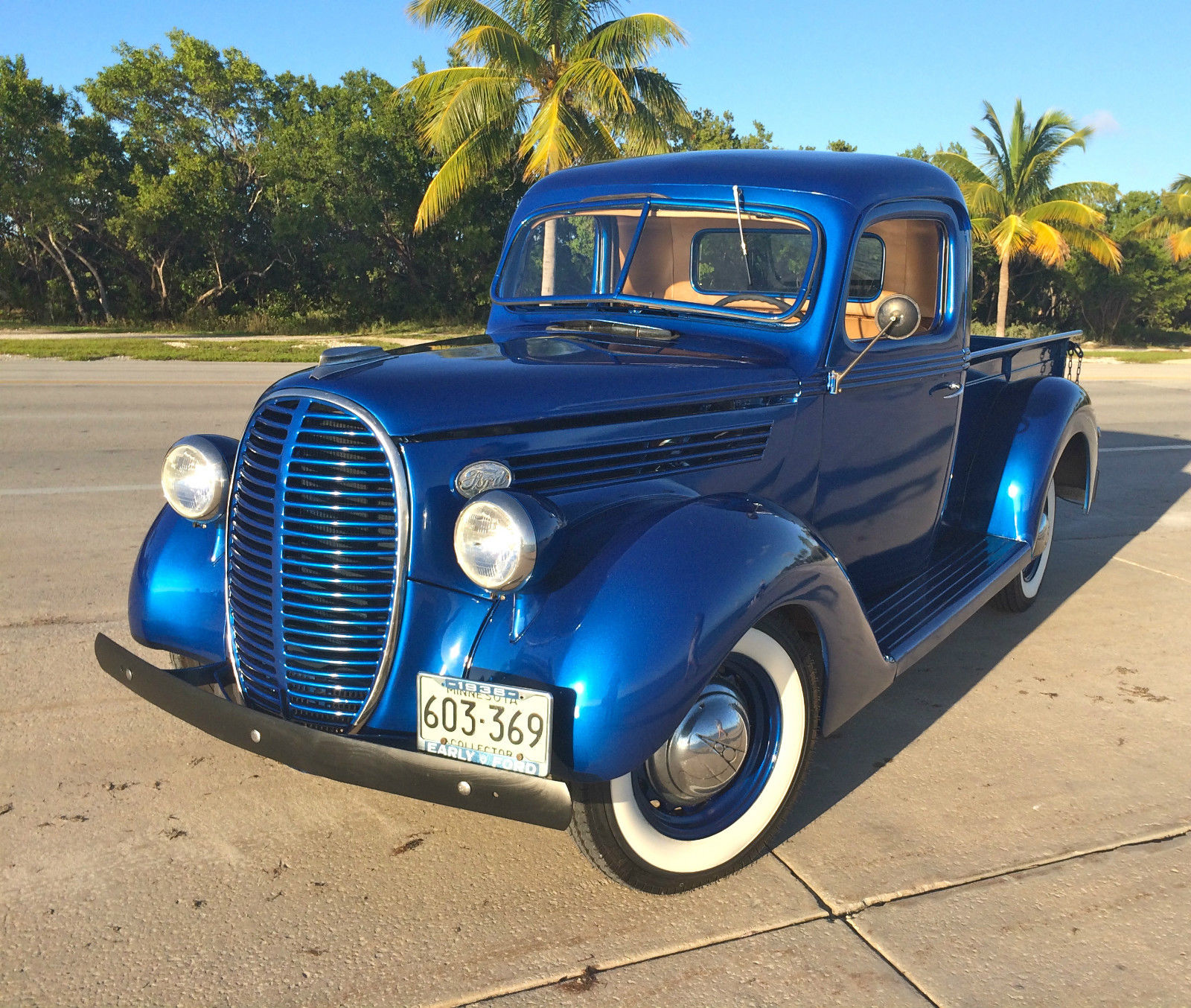 1938 ford pickup model 85 ford electric blue original for Ford truck motors for sale
