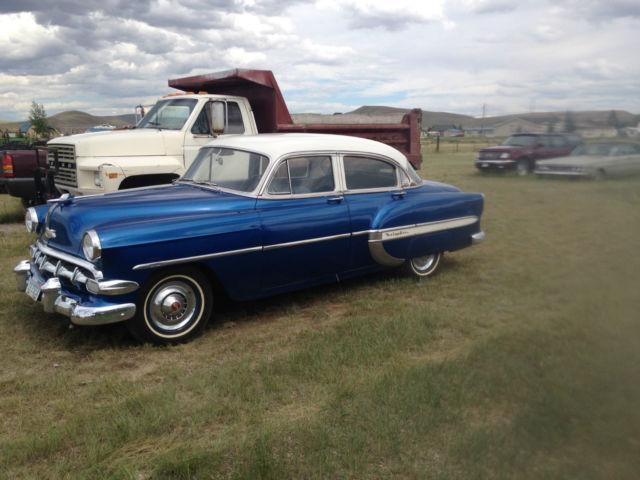 1954 chevy bel air 4 door sedan blue and white 81 549 for 1954 chevy belair 4 door