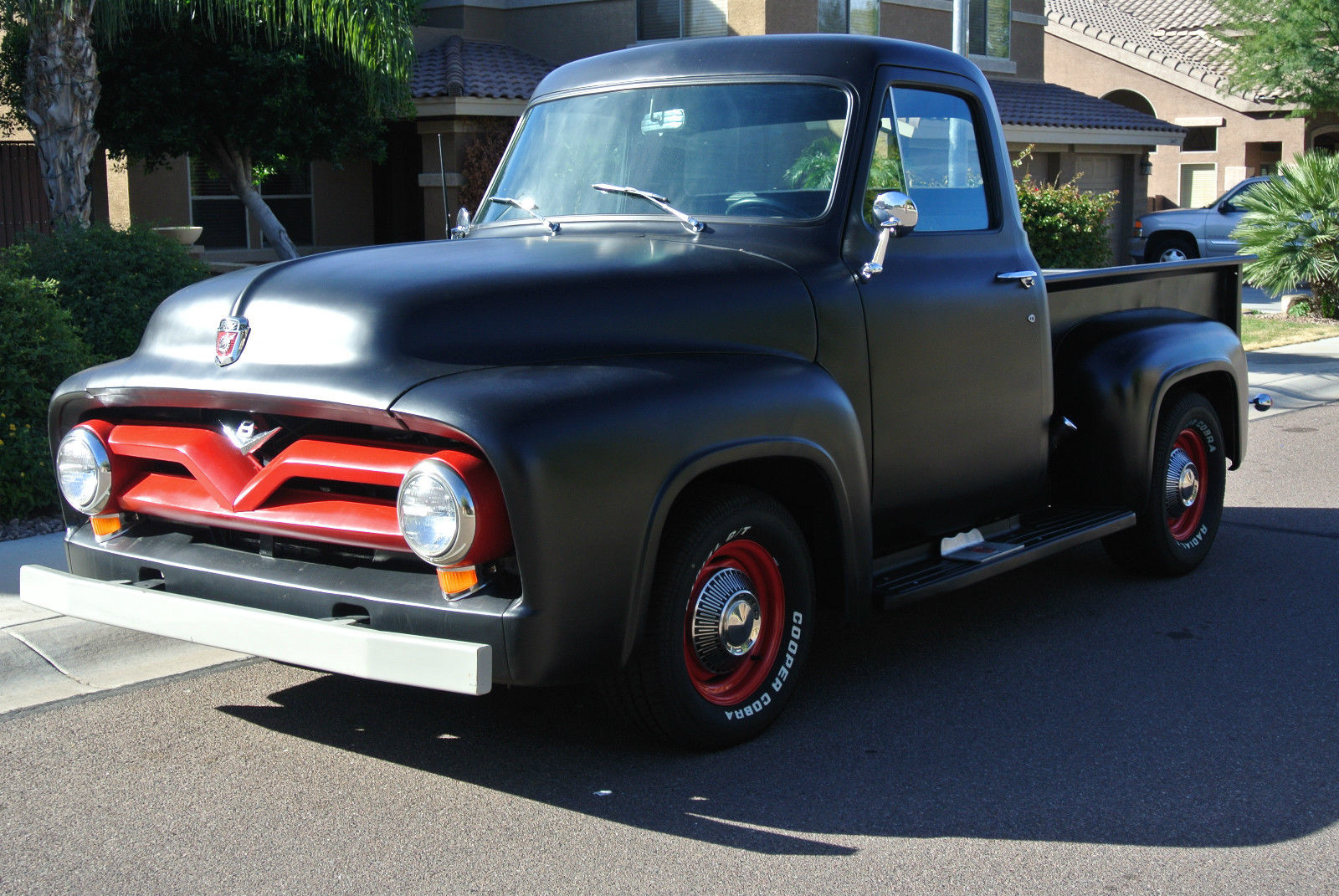 1955 Ford F100 Shop Truckrat Rodsctabarnfindloweredhotrod Truck Specifications 1954 Short Bed Black Hotrod Restomod F 100 F1