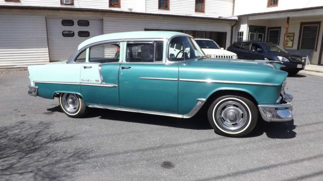 1955 chevrolet belair 4 door sedan 327 v8 3 speed for 1955 chevy 4 door to 2 door conversion