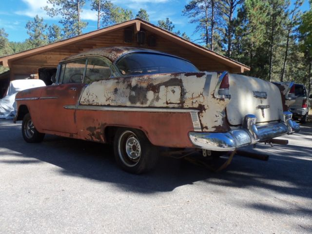 Rapid City Chevrolet >> 1955 Chevy Barn Find Two Door Hardtop Belair Original V8 Auto Gypsy Red/Beige NR for sale in ...