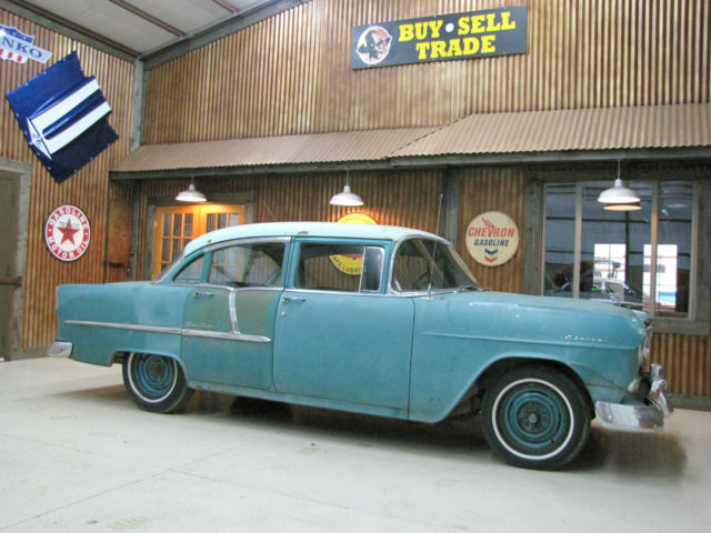 1955 chevy bel air four door sedan 210 patina barn find for 1955 chevy bel air 4 door