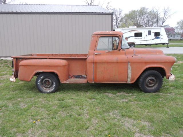 1956 chevrolet 3200 long bed rat rod or restore project 265 orange patina nr for sale in. Black Bedroom Furniture Sets. Home Design Ideas