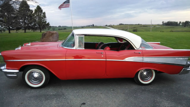 1957 chevy bel air red white 4 door hardtop for sale in for 1957 chevy bel air 4 door hardtop for sale