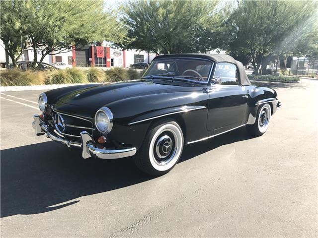 1957 mercedes 190sl black tan convertible for Black convertible mercedes benz