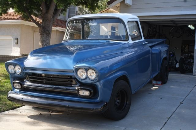 1958 chevy apache stepside  big window  new paint resto