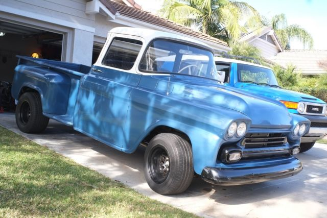 1958 Chevy Apache Stepside Pickup Truck Rare Big Window New Paint