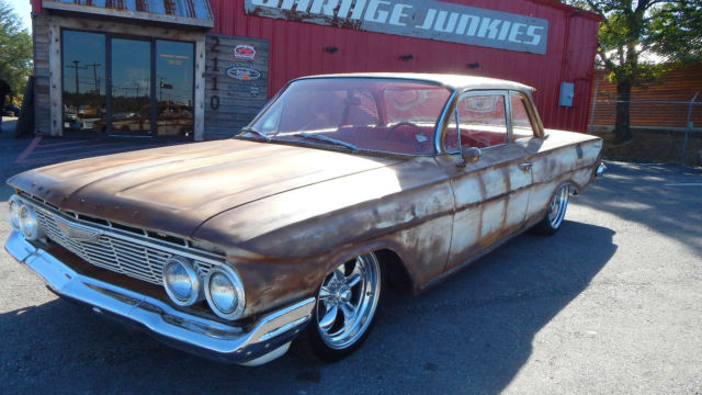 1961 Chevy Biscayne 2dr Flat Top Patina Red Interior