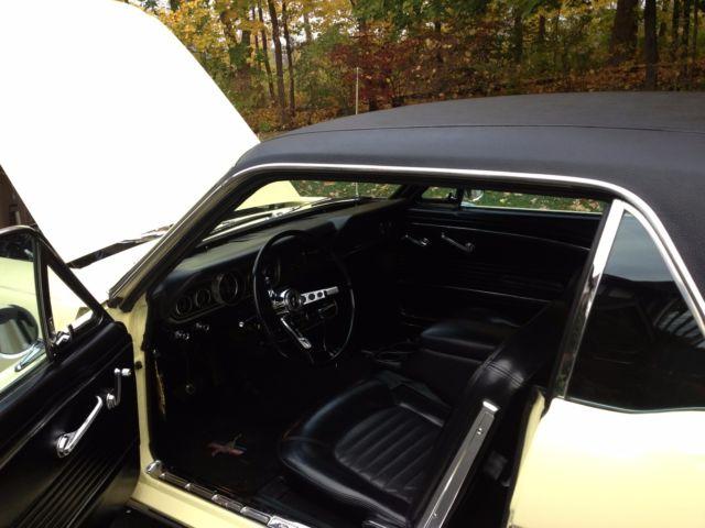 1966 mustang springtime yellow black vinyl top 289 c4 auto black interior. Black Bedroom Furniture Sets. Home Design Ideas