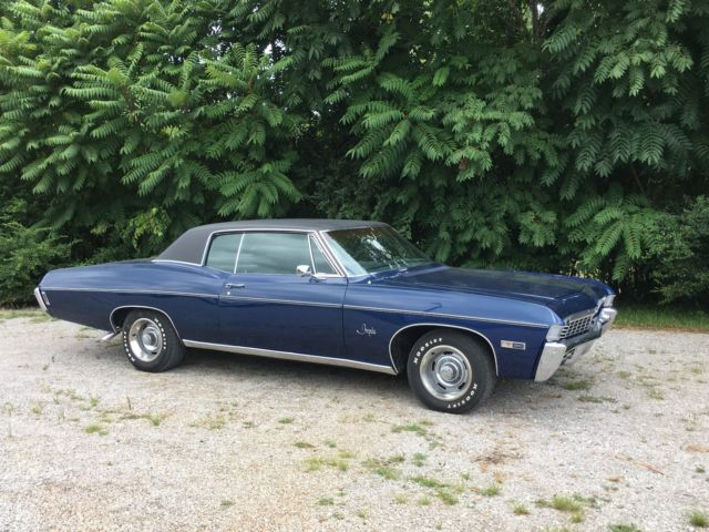1968 Chevrolet Impala 2 Door Midnight Blue With Black Vinyl Top For