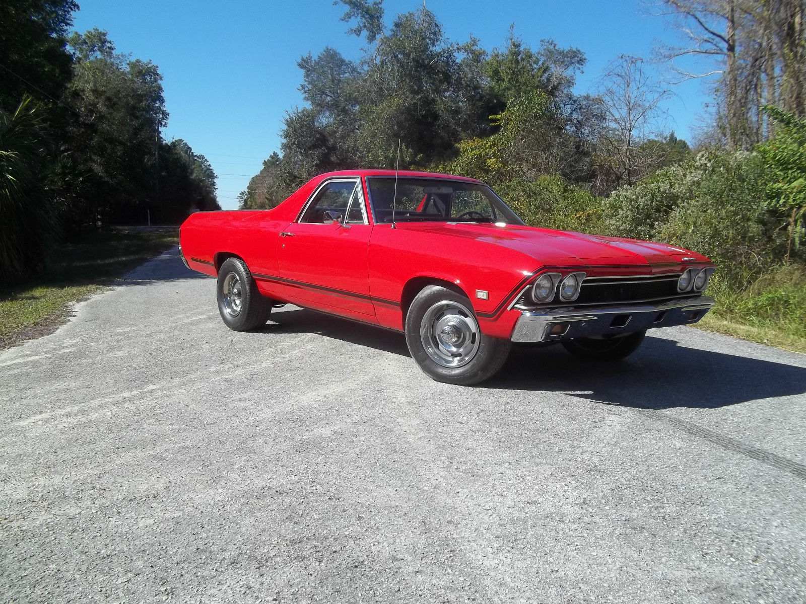 1968 Chevy El Camino Ss Trim Torch Red Florida Car Runs Great For Chevrolet