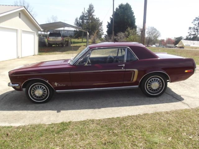 1968 ford mustang coupe 6 cyl maroon automatic transmission. Black Bedroom Furniture Sets. Home Design Ideas