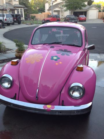 1971 volkswagen beetle classic bug hippie chic pink flowers for sale in vacaville california. Black Bedroom Furniture Sets. Home Design Ideas