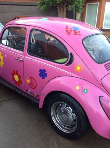 Volkswagen Beetle Classic Bug Hippie Chic Pink Flowers on volkswagen beetle bug car
