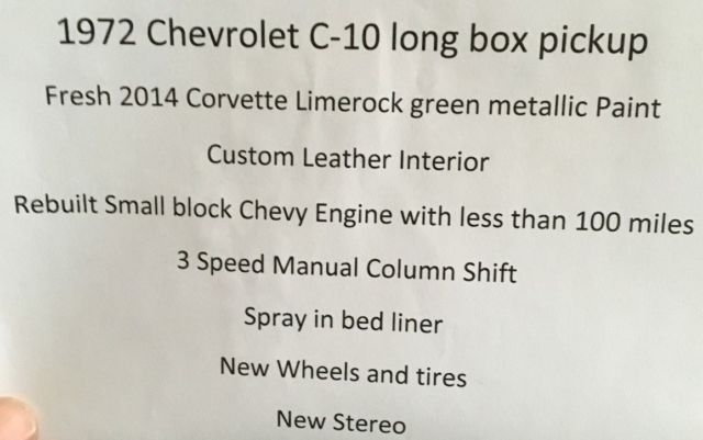 1972 Chevrolet C-10 Long Box Pickup Rebuilt Small Block
