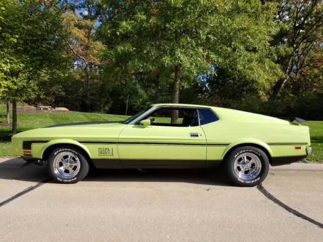 1972 mustang mach 1 351c legend lime green looks and runs fantastic