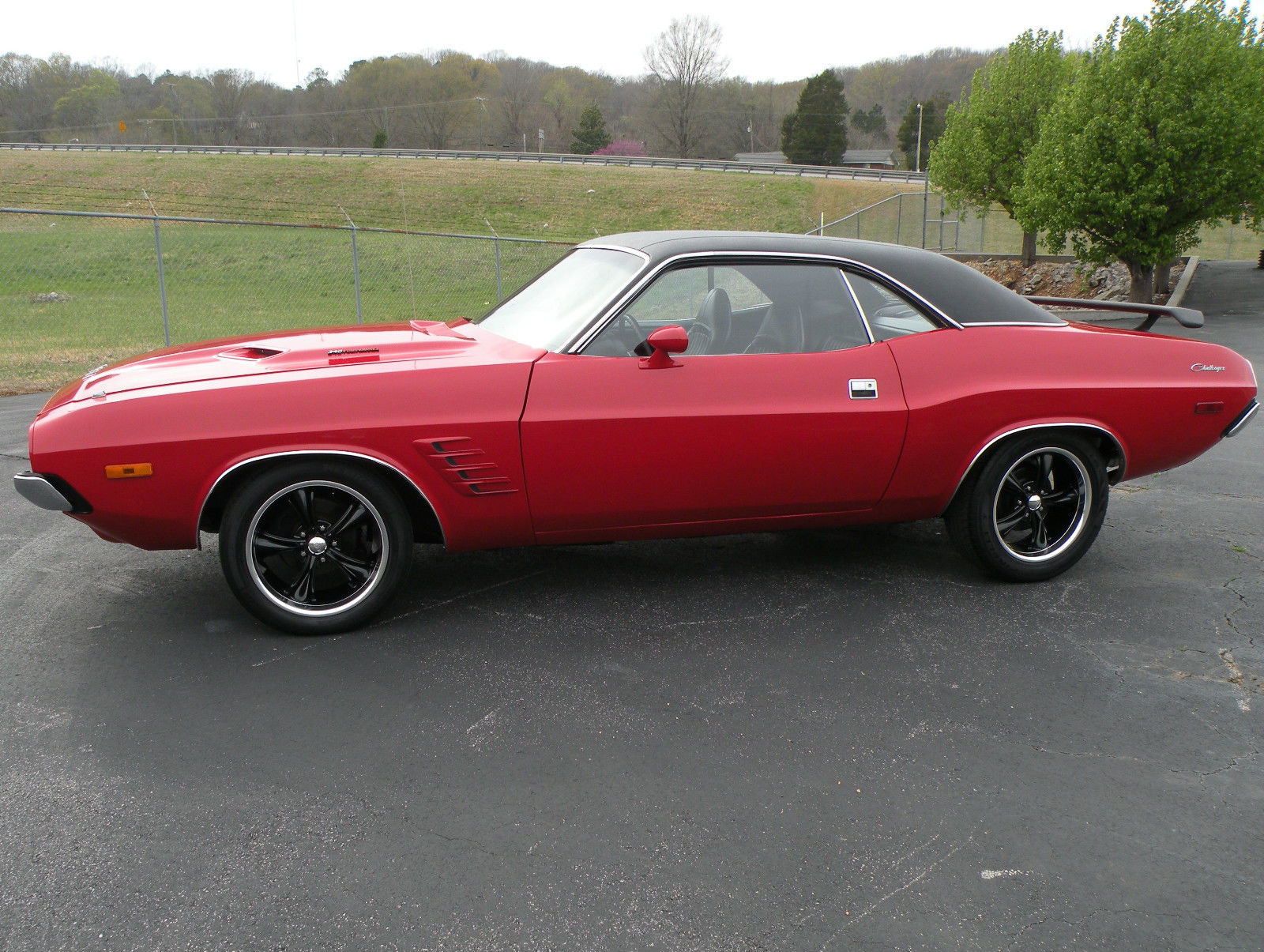 1973 dodge challenger matching numbers 340 factory air red with black interior for sale in for Black dodge challenger with red interior