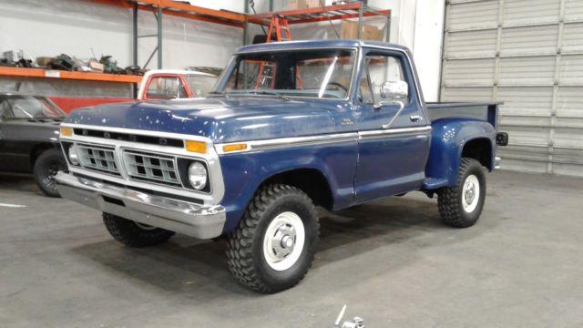 1977 ford f150 ranger 4x4 flareside snb built 400 4 speed ps pb midnight blue. Black Bedroom Furniture Sets. Home Design Ideas