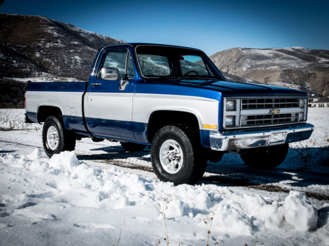 1985 chevy truck silverado k10 4x4 short bed shop truck zero rust new paint for sale in. Black Bedroom Furniture Sets. Home Design Ideas