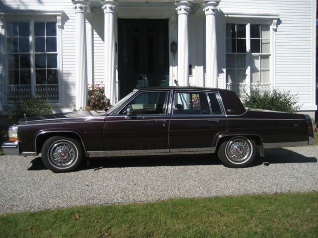 1987 Cadillac Brougham D Elegance 5 0 Liter 4bbl Burgundy Leather Wire Wheels For Sale Photos Technical Specifications Description