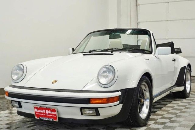 1988 porsche 911 turbo look cab grand prix white w linen lther only 44 600 miles. Black Bedroom Furniture Sets. Home Design Ideas