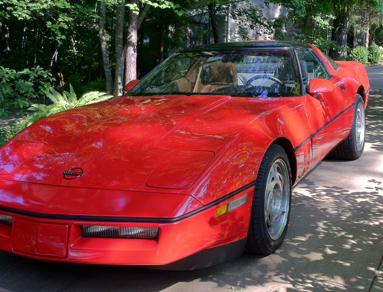 1990 corvette zr1 red w gray 2622 miles roof panel orig. Black Bedroom Furniture Sets. Home Design Ideas