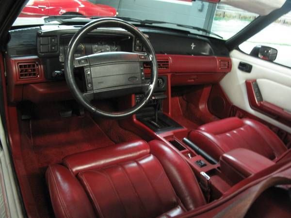 1990 mustang gt 5 0 25th anniversary convertible white w all red interior for sale in los. Black Bedroom Furniture Sets. Home Design Ideas