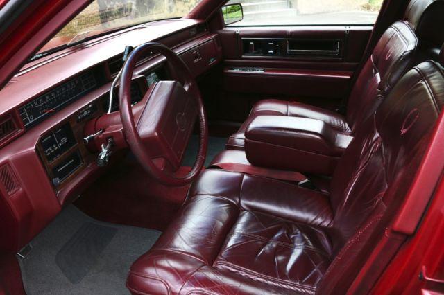 1991 cadillac deville burgundy red sedan 4 door leather interior 128468 miles. Black Bedroom Furniture Sets. Home Design Ideas