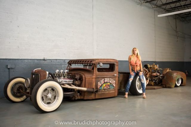 34 Ford Pickup Rat Rod W Bagged Rat Trailer And 41 Hd