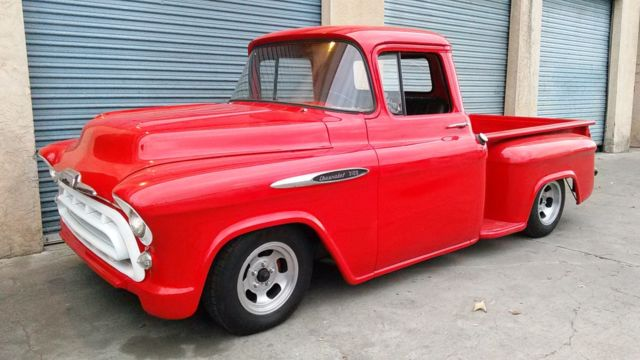57 Chevy Truck V8 Auto Original Red Power Steering Disc Brakes
