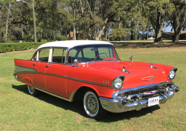 Beautiful original red white 1957 chevrolet belair 4 door for 1957 chevy 4 door sedan