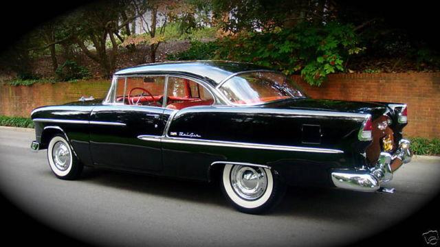 Black 1955 chevrolet bel air 2 door hardtop sport coupe for 1955 chevy belair 2 door hardtop for sale