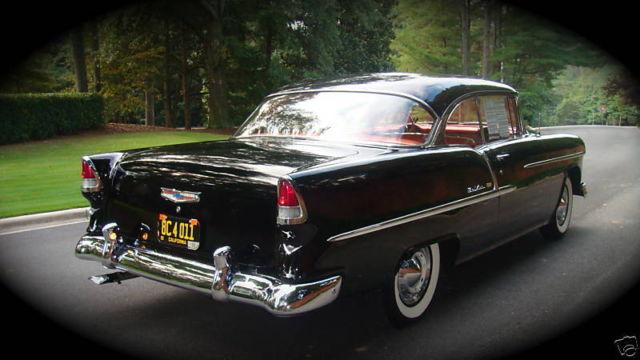 Black 1955 Chevrolet Bel Air 2 Door Hardtop Sport Coupe