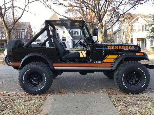black 1984 amc jeep cj 7 renegade restored many new parts 4 wheel drive jeep cj7. Black Bedroom Furniture Sets. Home Design Ideas