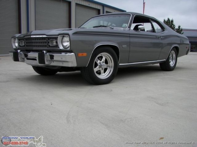 dark gray metallic 1974 plymouth duster360 v84spd for sale. Black Bedroom Furniture Sets. Home Design Ideas