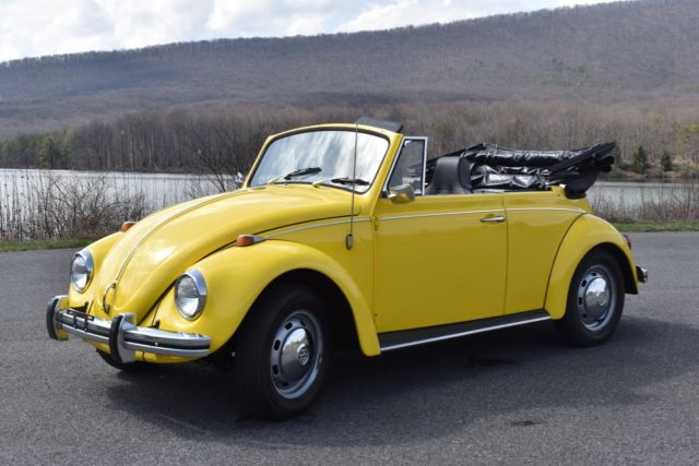excellent  classic volkswagen beetle convertible yellow restored  sale  technical