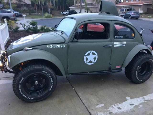 vw baja bug manual army green lifted rear  rust blue plate runs great  sale