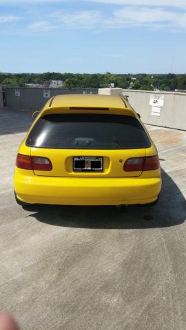 Yellow Hatchback With Jdm B C Integra Type R Motor